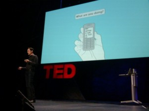 Twitter co-founder Evan Williams speaking at TED